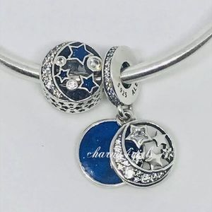 Authentic PANDORA Set of 2 Night Sky Charms